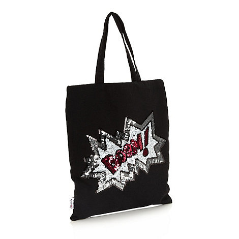 Donna & Markus by Markus Lupfer - Designer girl+s black sequinned slogan tote bag
