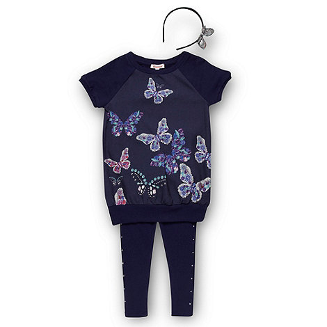 bluezoo - Girl+s navy butterfly top, leggings and headband