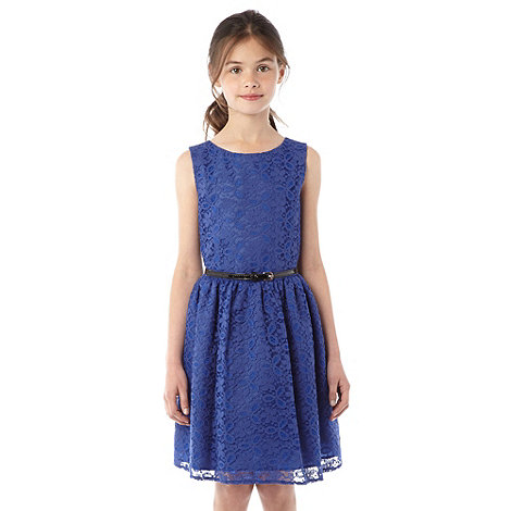 bluezoo - Girl's blue embroidered lace dress