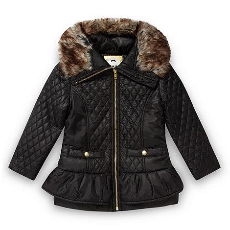 Star by Julien Macdonald - Designer girl+s black quilted peplum coat