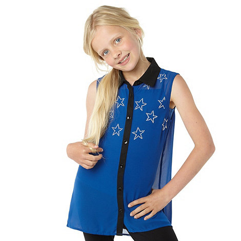 Star by Julien Macdonald - Girl+s blue studded shirt and leggings set