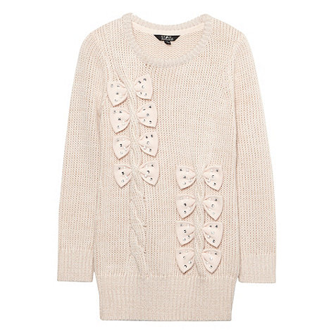 Star by Julien Macdonald - Girl+s off white bow knitted sweater