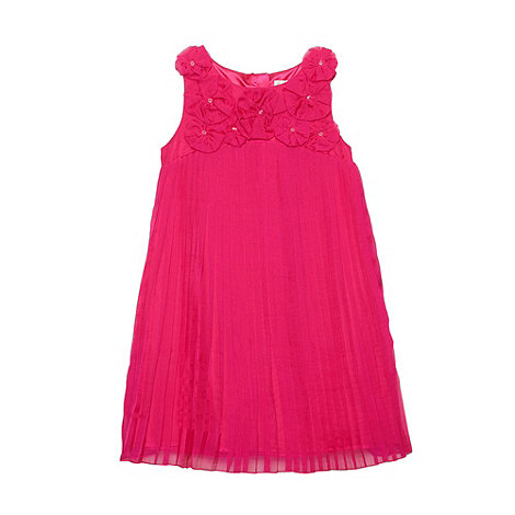 RJR.John Rocha - Designer girl+s dark pink applique flower dress