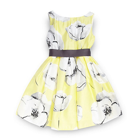 RJR.John Rocha - Designer girl+s yellow poppy patterned dress