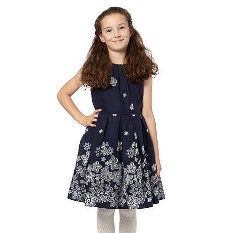RJR.John Rocha - Girl+s navy lace printed dress