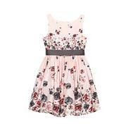 Girl's red rose printed dress