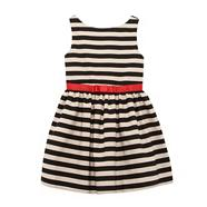 Girl's black fine stripe dress