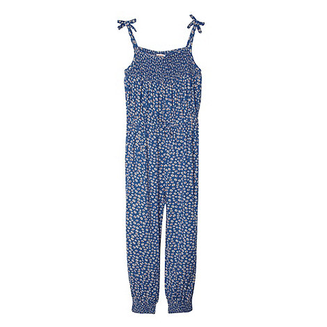 bluezoo - Girl+s blue shirred daisy jumpsuit