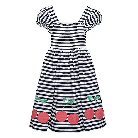 bluezoo - Girl+s navy striped cherry applique dress