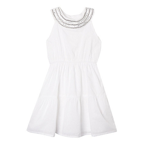 bluezoo - Girl+s white sequin trim dress