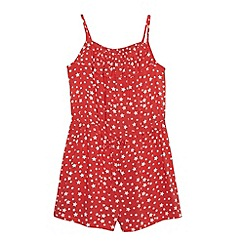 bluezoo - Girl's red shirred star playsuit