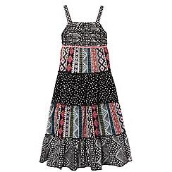 bluezoo - Girl's black tiered aztec maxi dress