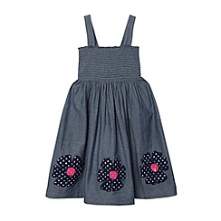 bluezoo - Girl's blue chambray applique flower hem dress