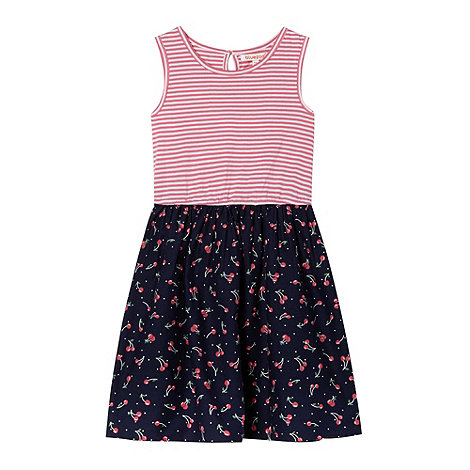 bluezoo - Girl+s navy mock 2-in-1 cherry patterned dress
