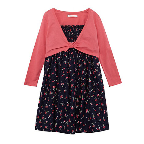 bluezoo - Girl+s navy cherry dress and cardigan