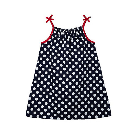 bluezoo - Girl's navy spotted dress