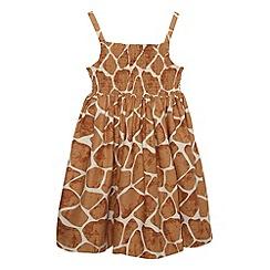 bluezoo - Girl's tan giraffe print dress
