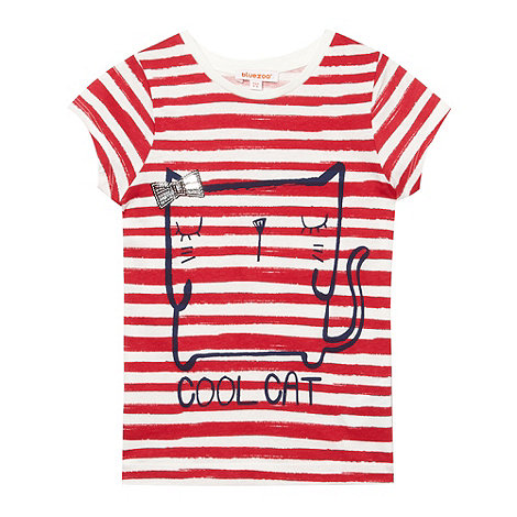 bluezoo - Girl+s red striped sequin cat top