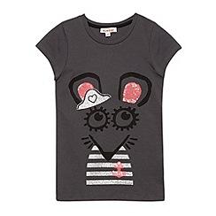 bluezoo - Girl's dark grey mouse t-shirt