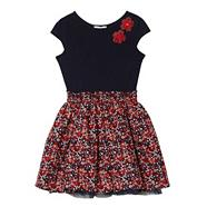 Girl's navy floral skirt dress