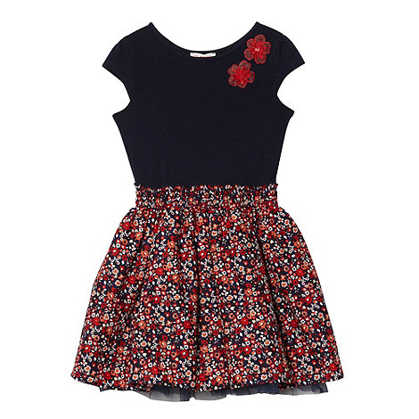bluezoo - Girl+s navy floral skirt dress