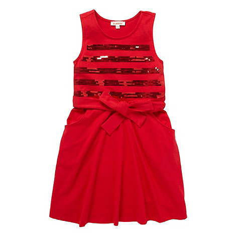 bluezoo - Girl+s red sequin striped jersey dress