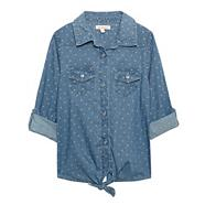 Girl's blue star patterned tie front shirt
