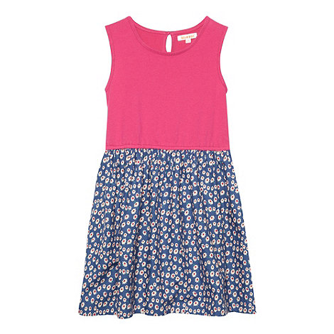 bluezoo - Girl+s blue floral ditsy print mock 2 in 1 dress