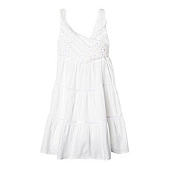 bluezoo - Girl's white crossover sequin bodice dress