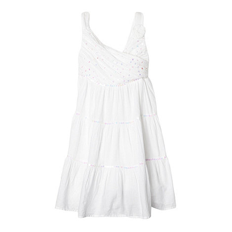bluezoo - Girl+s white crossover sequin bodice dress