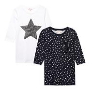 Girl's pack of two white sequin star tops