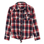 Girl's red checked knotted hem shirt