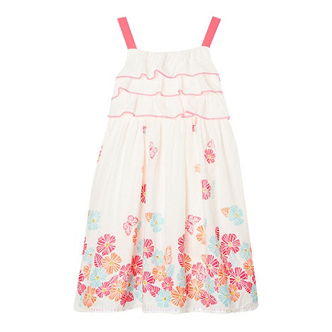 bluezoo - Girl+s white frilly floral border dress