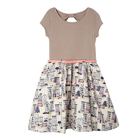 bluezoo - Girl+s taupe house print belted dress