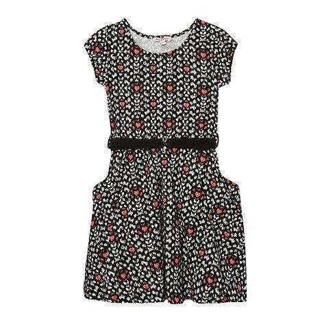 bluezoo - Girl+s black spotted drop pocket dress
