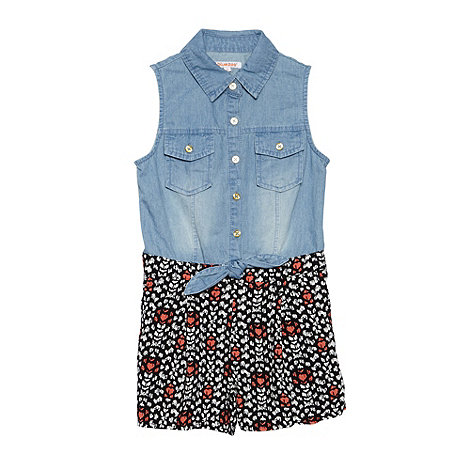 bluezoo - Girl+s blue denim shirt playsuit