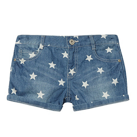 bluezoo - Girl+s blue star denim shorts