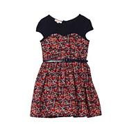 Girl's navy floral belted dress