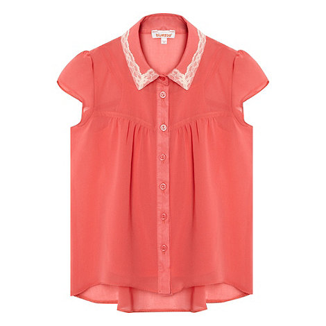 bluezoo - Girl+s pink chiffon lace collar top