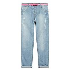 bluezoo - Girl's light blue worn effect straight leg jeans