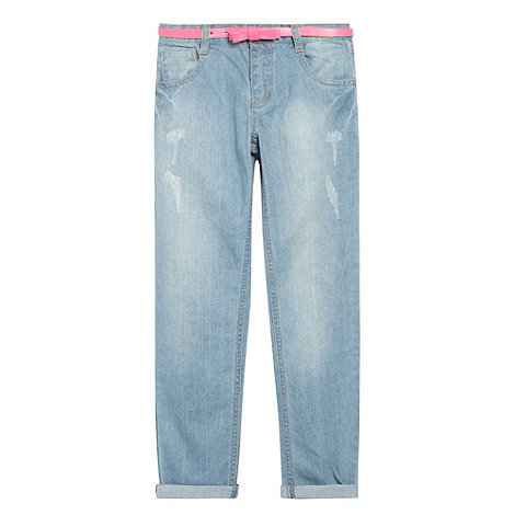 bluezoo - Girl+s light blue worn effect straight leg jeans