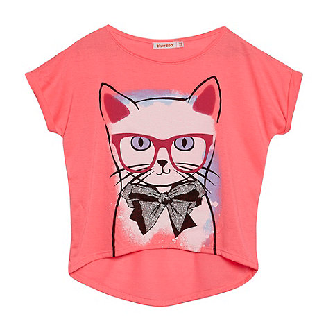 bluezoo - Girl+s bright pink cat print t-shirt