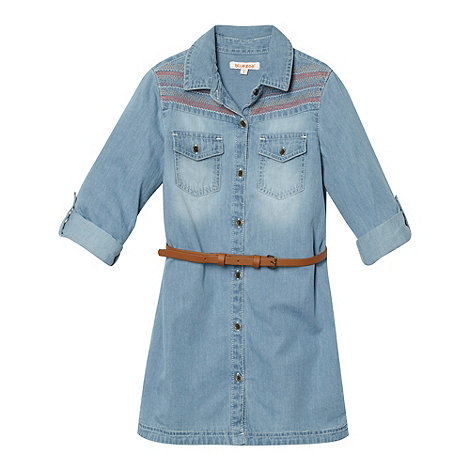 bluezoo - Girl+s blue embroidered denim shirt dress