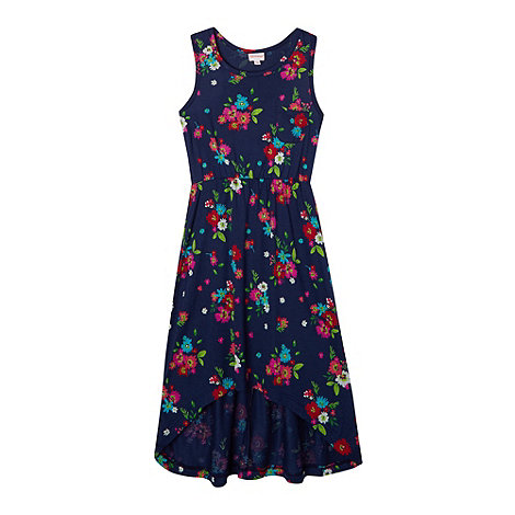 bluezoo - Girl+s navy floral dipped hem maxi dress