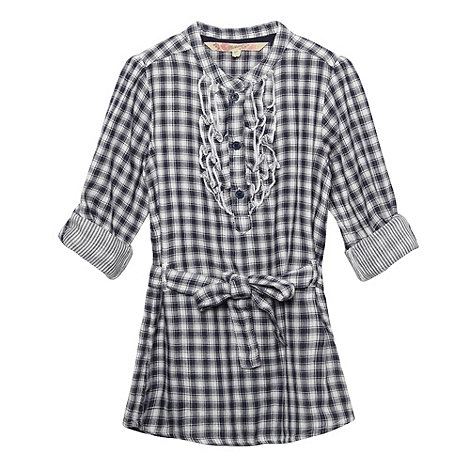 Mantaray - Girl+s navy checked ruffle front shirt