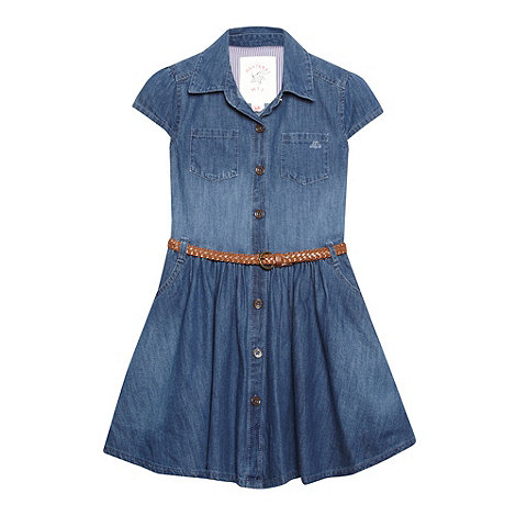 Mantaray - Girl+s blue denim belted shirt dress