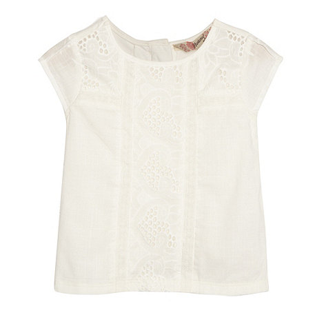 Mantaray - Girl+s off white embroidered front jersey top