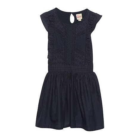 Mantaray - Girl's navy broderie frill dress