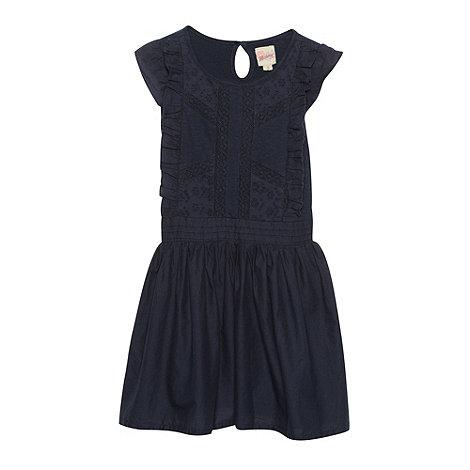 Mantaray - Girl+s navy broderie frill dress