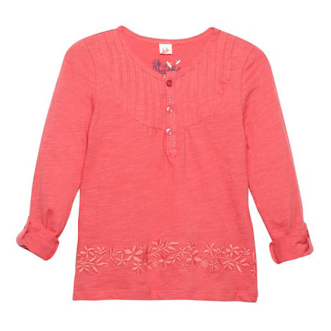 Mantaray - Girl's pink embroidered floral hem top